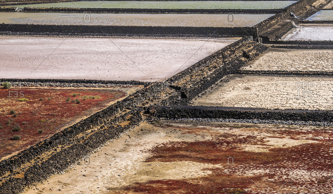 Spain, Canary Islands, Lanzarote Island, Janubio salt manufacturing
