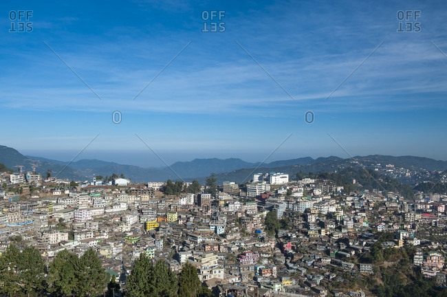 Viewpoint on the city erected on hills, Kohima, Nagaland, India