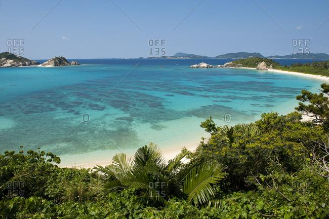Scenery sight over turquoise blue water at Aharen beach, Tokashiki, Okinawa, Japan