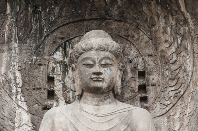 Head of  Vairocana Bouddha statue in Longmen caves, Luoyang, Henan, China