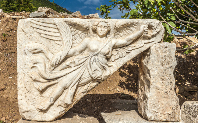 Turkey, province of Izmir, ancient Greek city of Ephesus (Roman port, role in the spread of Christianity with the councils of 431 and 449), bas-relief of the temple of Domitian (1st century) (UNESCO World Heritage)