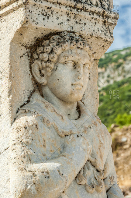 Turkey, province of Izmir, ancient Greek city of Ephesus (Roman port, role in the spread of Christianity with the councils of 431 and 449), bas-reliefs on the Gate of Hercules (UNESCO World Heritage)