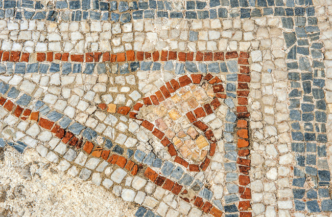 Turkey, province of Izmir, ancient Greek city of Ephesus (Roman port, role in the spread of Christianity with the councils of 431 and 449), mosaic heart on the floor of the Curetes street (UNESCO world heritage)