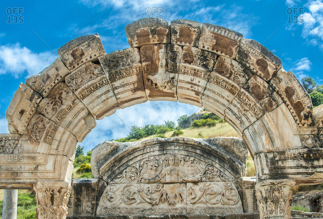Turkey, province of Izmir, ancient Greek city of Ephesus (Roman port, role in the spread of Christianity with the councils of 431 and 449), Temple of Hadrian (2nd century) with bas-relief representing Medusa (UNESCO World Heritage)