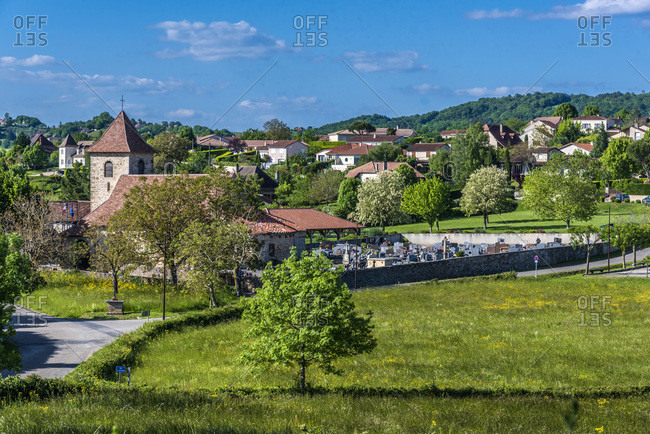 France, Quercy, Lot, Saint Laurent-les-Tours,  church and cemetery