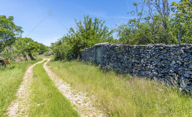 France, Lot, Causses regional Natural Park of Quercy, Natural Sensitive Space of Brauhnie, small stone wall in a ewes park and a pathway