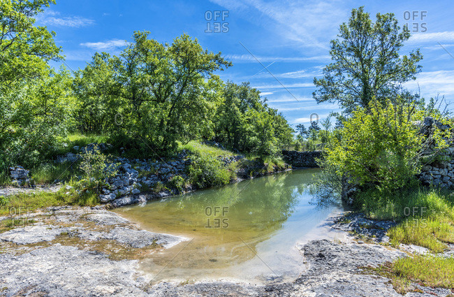 France, Lot, Causses regional Natural Park of Quercy, Natural Sensitive Space of Brauhnie, Saint Namphaise lake drilled in the limestone for the ewes