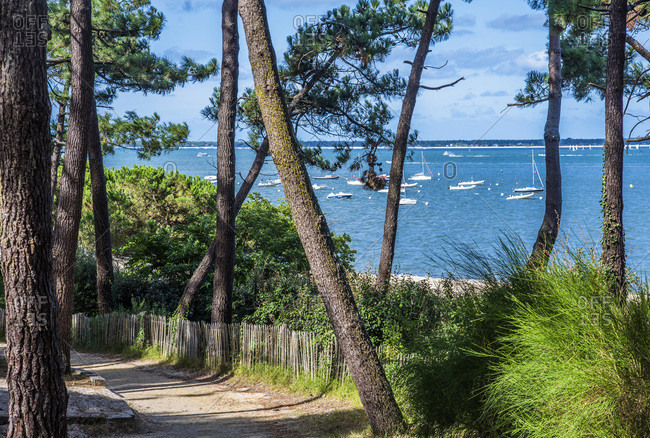 France, Arcachon Bay, access way to Pereire beach at Arcachon