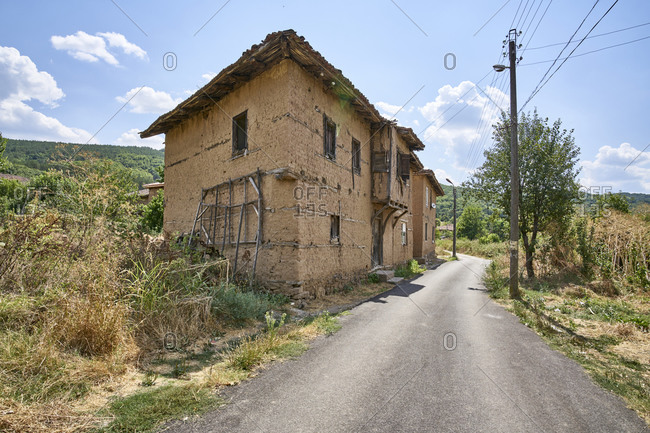 Greek-style adobe house in Mandritsa, Eastern Rhodope Mountains, Bulgaria