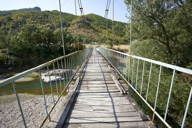 The rope bridge to the abandoned village of Tikva in the Borovitsa River valley, Eastern Rhodopes, Bulgaria