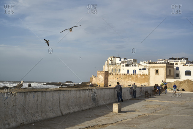 Essaouira, Morocco - November 08 2017: Panoramic view of the Medina of Essaouira and the fortification seen from the Atlantic Ocean and the harbor