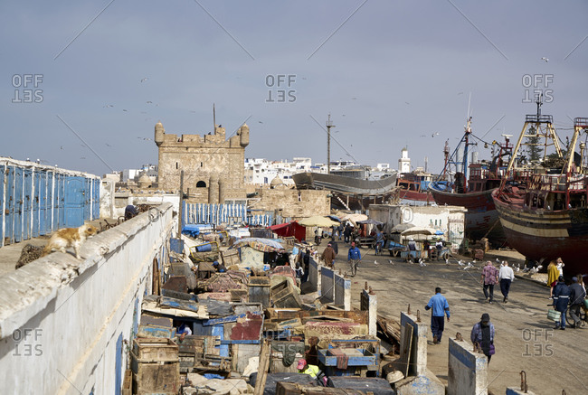 Essaouira, Morocco - November 8 2017: Bird's eye view over the Port of Essaouira with large fishing boats and vessels