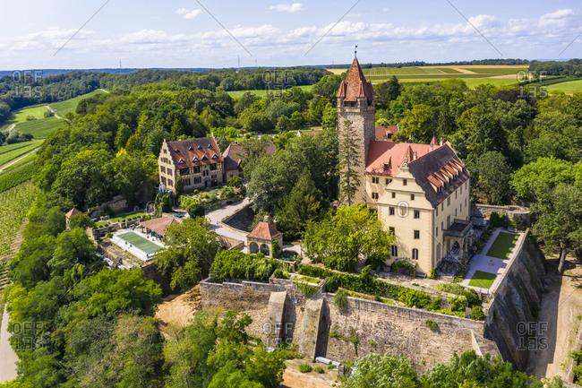 Germany- Baden-Wurttemberg- Brackenheim- Helicopter view of Schloss Stocksberg in summer