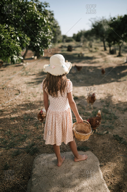 Girl with basket standing in chicken farm