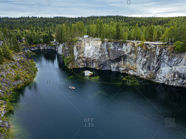 Russia- Republic of Karelia- Ruskeala- Aerial view of Marble Lake