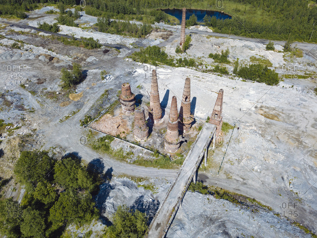 Russia- Republic of Karelia- Sortavala- Aerial view of abandoned marble and limestone quarry in Ruskeala Mountain Park