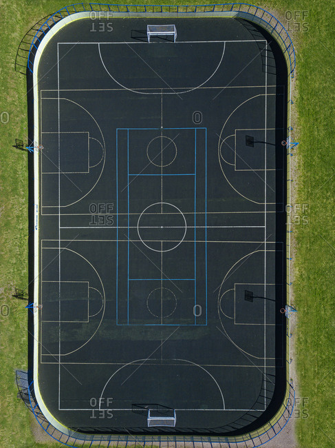 Russia- Republic of Karelia- Sortavala- Aerial view of empty basketball court