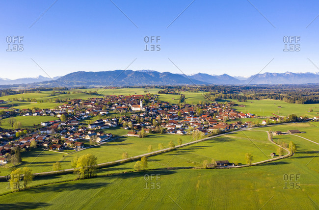 Germany- Bavaria- Konigsdorf- Aerial view of village in Alpine Foothills in summer