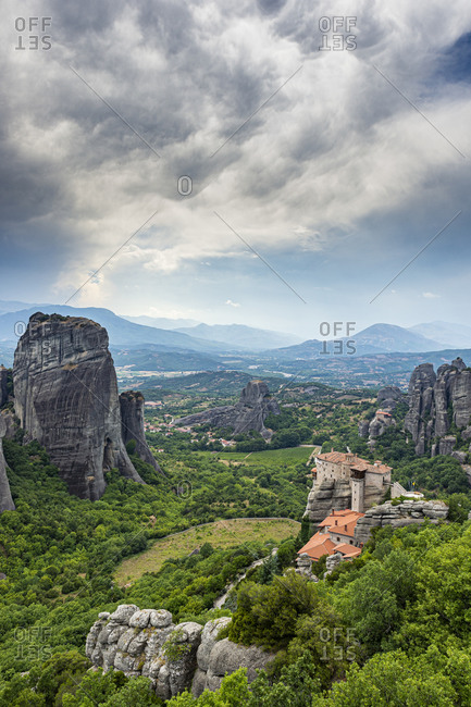 Greece- Thessaly- Scenic view of Roussanou Monastery