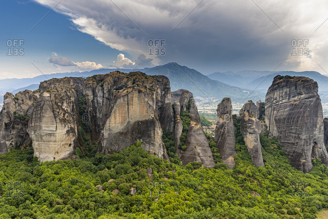Greece- Thessaly- Scenic view of Meteora rock formations