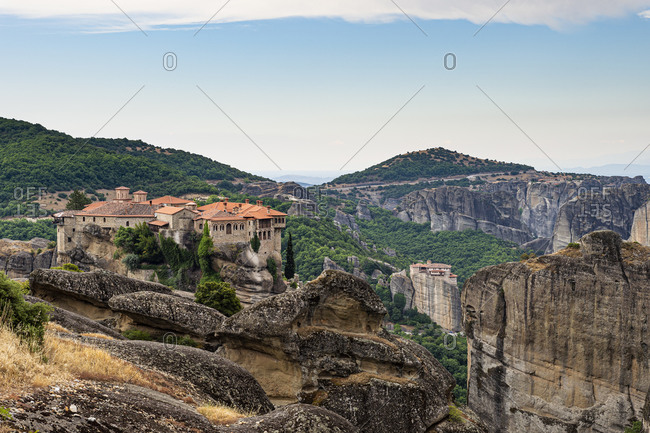 Greece- Thessaly- Scenic view of Monastery of Great Meteoron