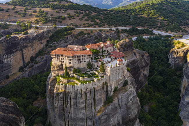 Greece- Thessaly- Scenic view of Monastery of Varlaam