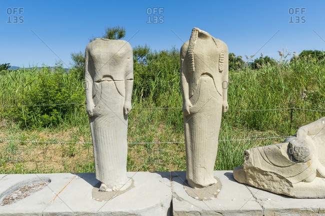 Greece- Samos- Damaged statues in Heraion of Samos