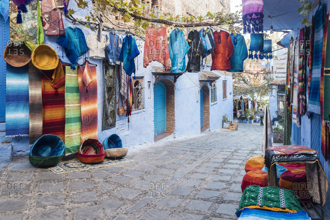 Traditional clothes for sale at market in Chefchaouen- Morocco