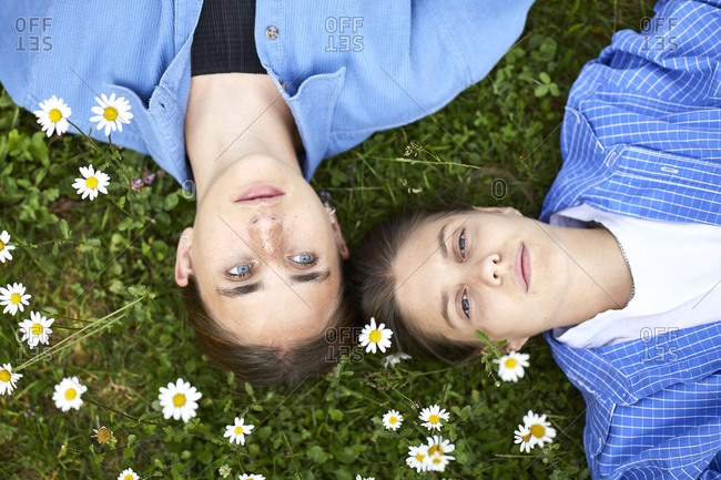 Close-up of female friends lying on grassy land in garden