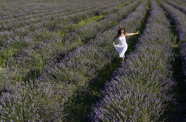 Mid adult woman wearing white dress running freely amidst lavender field