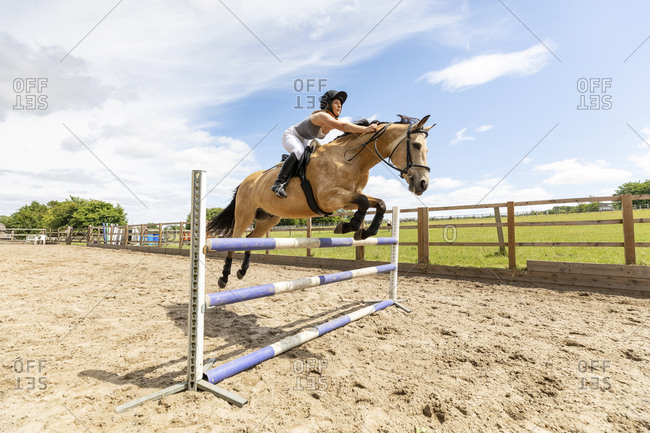 Young woman riding a horse and jumping over the hurdle