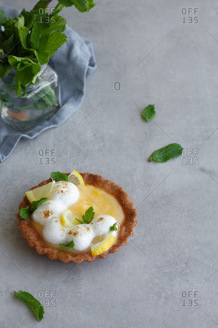 Set of yummy homemade lemon tart with meringue decorated with fresh green mint leaves and sprinkled with cinnamon powder