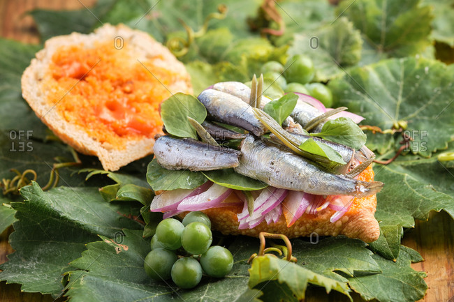 Open harvest sandwich with sardines, meat and different vegetables on top of a grapevine leaf. Gastronomy of Canary Islands