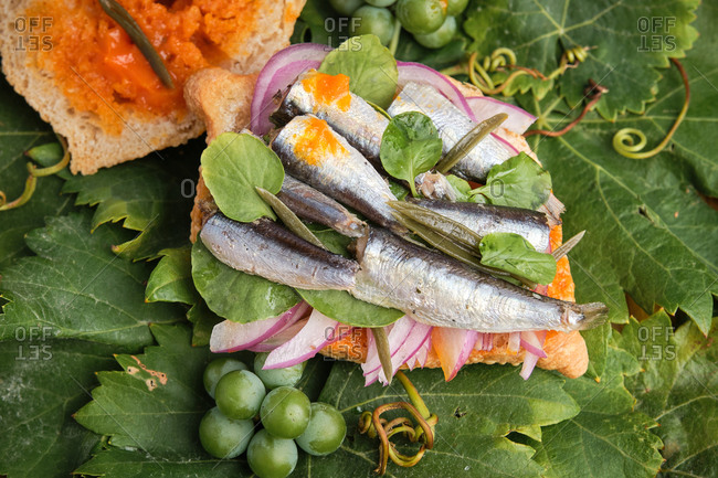 Traditional harvest sandwich half opened with sardines, meat and different vegetables on top of a grapevine leaf. Gastronomy of Canary Islands