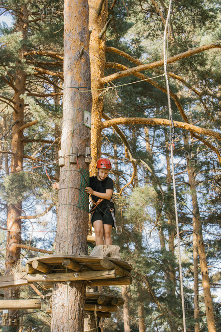 Kid in safety equipment standing on wooden platform on tree and entertaining in adventure park in forest