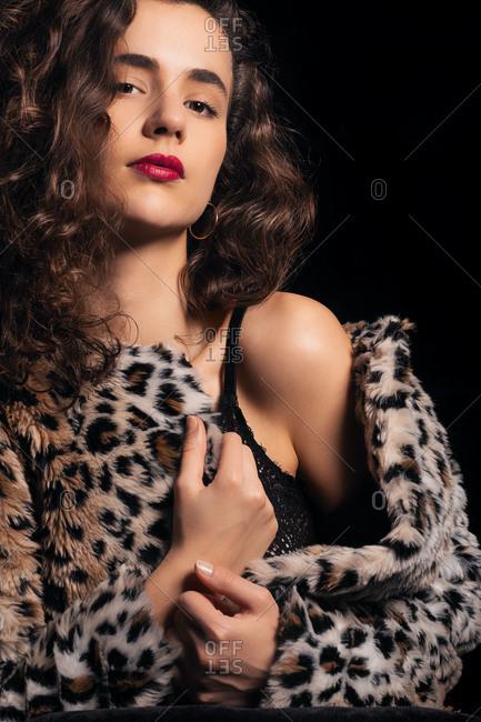 Seductive woman posing in studio