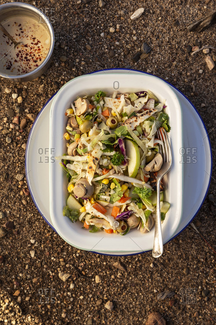 Overhead view of tortilla slaw dish on ground outdoors