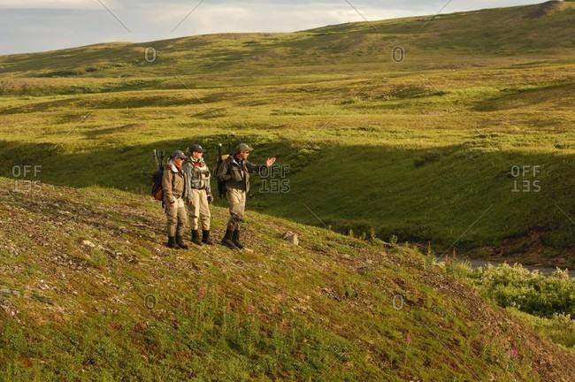 US, AK, Katmai - July 18, 2005: Hiking and fishing in Katmai National Park, Alaska