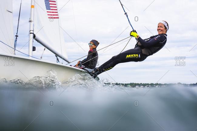 United States, Rhode Island, Newport - June 27, 2018: Women Olympic 470 Sailing Team Training