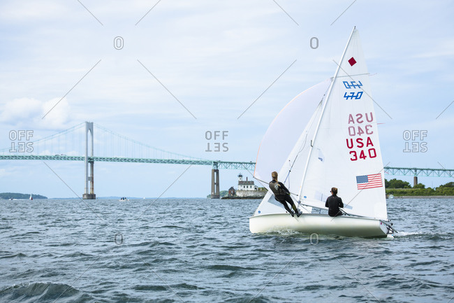 United States, Rhode Island, Newport - June 27, 2018: Women Olympic 470 Sailing Team Training
