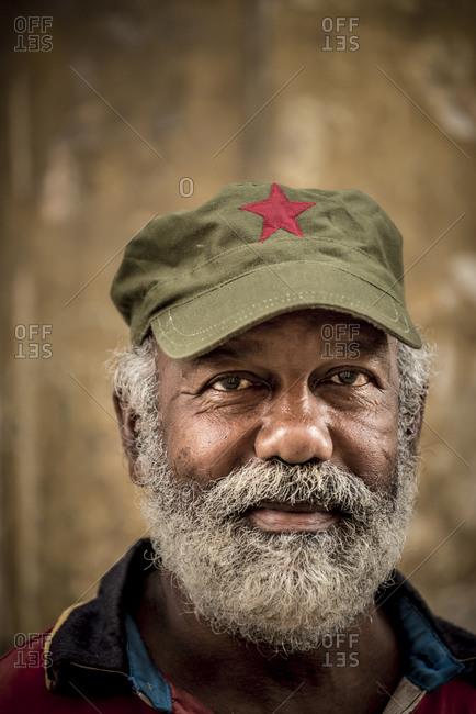 Cuba, N/A, Cuba - January 3, 2015: Friendly man with beard wearing hat in Havana, Cuba