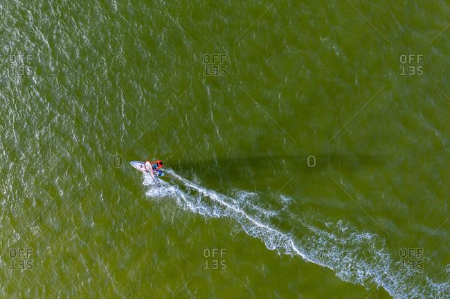 Aerial view of windsurfer, Noosa River, Noosa Heads, Queensland, Australia