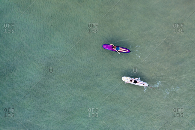 Women on surfboards in Little Cove, Noosa Heads, Queensland, Australia