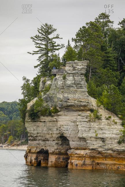 USA, Michigan, Munising - September 19, 2018: Cliffs at Pictured Rocks National Lakeshore Munising, Michigan, USA