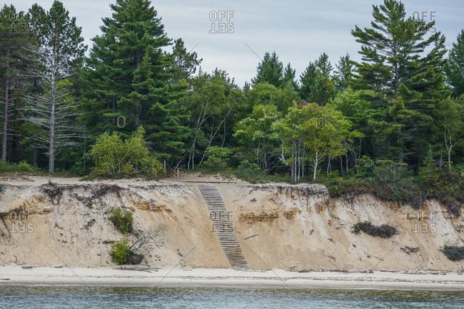 View of beach at Pictured Rocks National Lakeshore Munising, Michigan, USA