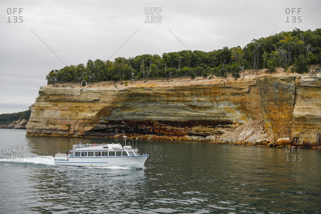USA, Michigan, Munising - September 19, 2018: Tour boat at Pictured Rocks National Lakeshore Munising, Michigan, USA