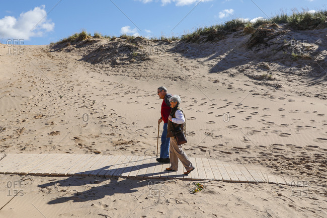 USA, Michigan, Empire - September 21, 2018: Hikers at Sleeping Bear Dunes National Lakeshore, Empire, Michigan, USA