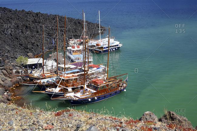 Greece, Santorini, Santorini - April 10, 2018: Neck Kameni, Palaic Kameni and Aspronisi, Santorini, Cyclades, Aegean Sea, Greece