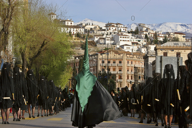 Spain, Annalee �a, Sevilla - April 1, 2005: Holy Week procession, Granada, Andalusia, Spain