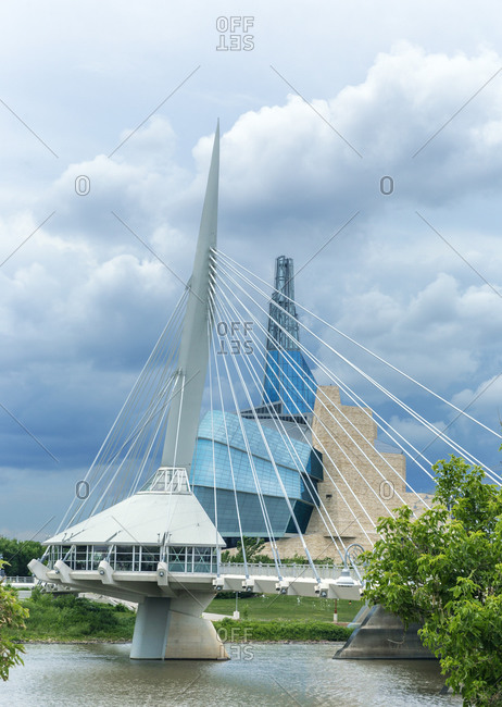Canada, Manitoba, Winnipeg - July 22, 2018: Esplanade Riel and Canadian Museum for Human Rights, Winnipeg, Manitoba, Canada